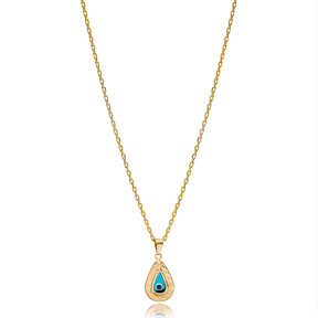 Trendy Drop Shape Evil Eye Charm Necklace Wholesale Turkish 925 Sterling Silver Jewelry