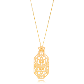 Silver 22K Gold Geometric Pattern Pendant Wholesale Turkish Handcrafted 925 Silver Jewelry