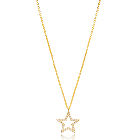 Star Geometric Shape Charm Pendant Turkish Handmade 925 Sterling Silver Jewelry