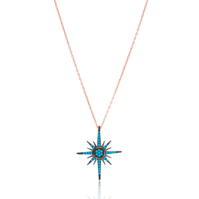 Turquoise Pole Star Necklace Wholesale 925 Silver Sterling Jewelry