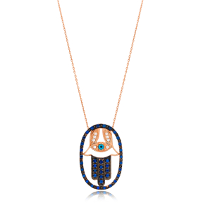 Hamsa Charm Necklace Wholesale Handmade Turkish 925 Silver Sterling Jewelry