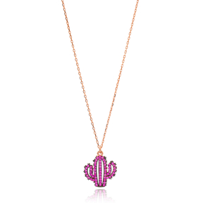 Ruby Stone Cactus Charm Necklace Wholesale Handmade 925 Silver Sterling Jewelry