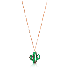 Emerald Stone Cactus Charm Necklace Wholesale Handmade 925 Silver Sterling Jewelry
