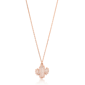 Zircon Stone Cactus Charm Necklace Wholesale Handmade 925 Silver Sterling Jewelry