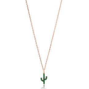Emerald Stone Minimal Cactus Necklace Turkish Wholesale Handmade 925 Silver Sterling Jewelry