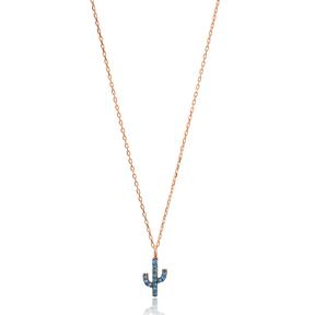 Aquamarine Stone Minimal Cactus Necklace Turkish Wholesale Handmade 925 Silver Sterling Jewelry