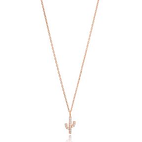 Zircon Stone Minimal Cactus Necklace Turkish Wholesale Handmade 925 Silver Sterling Jewelry