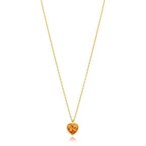Heart Shape Stone Minimalist Design Wholesale Handmade 925 Silver Sterling Necklace