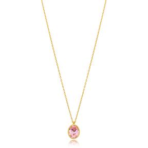 Round Shape Stone Minimalist Design Wholesale Handmade 925 Silver Sterling Necklace