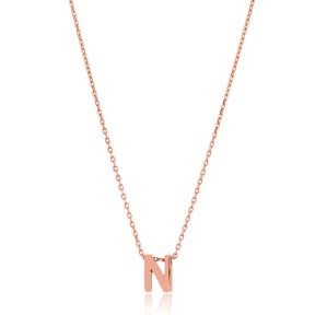 Alphabet N Letter Minimalist Design Necklace Turkish Wholesale Handmade 925 Sterling Silver Jewelry