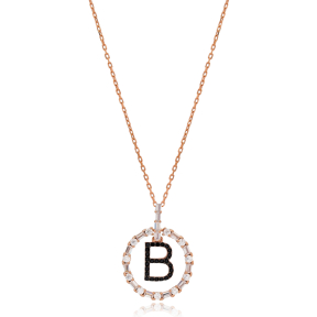 Alphabet B Letter Swinging Design Necklace Turkish Wholesale Handmade 925 Sterling Silver Jewelry