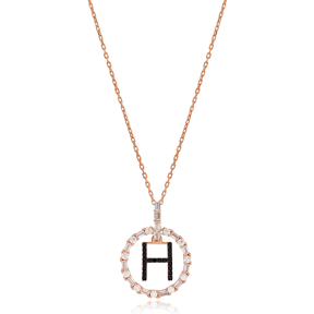 Alphabet H Letter Swinging Design Necklace Turkish Wholesale Handmade 925 Sterling Silver Jewelry