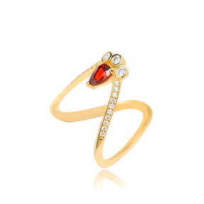 V Design With Garnet Stone Ring Wholesale Handcrafted Silver Jewelry