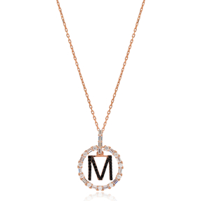 Alphabet M Letter Swinging Design Necklace Turkish Wholesale Handmade 925 Sterling Silver Jewelry