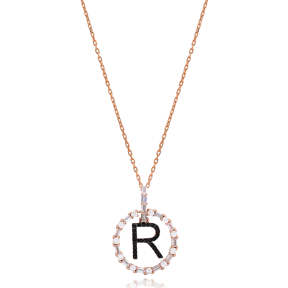 Alphabet R Letter Swinging Design Necklace Turkish Wholesale Handmade 925 Sterling Silver Jewelry