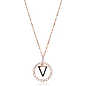 Alphabet V Letter Swinging Design Necklace Turkish Wholesale Handmade 925 Sterling Silver Jewelry