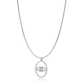 Oval Shape Evil Eye Charm Design Turkish Wholesale Handmade 925 Silver Sterling Necklace