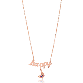 Happy Letter Butterfly Charm Design Turkish Wholesale Handmade 925 Silver Sterling Necklace