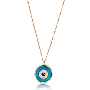 Turquoise Enamel Evil Eye Charm Design Turkish Wholesale Handmade 925 Silver Sterling Necklace