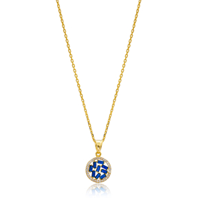 Sapphire Baguette Zircon Gold Plated Necklace Handmade Wholesale 925 Silver Sterling Jewelry