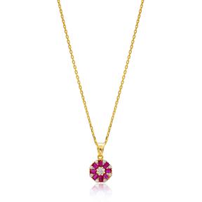 Dainty Design Ruby Baguette Pendant Handmade Wholesale 925 Silver Sterling Jewelry