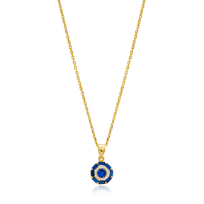 Baguette Sapphire Necklace Handmade Wholesale 925 Silver Sterling Jewelry