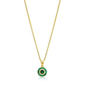 Emerald Baguette Necklace Wholesale Handmade 925 Silver Sterling Jewelry