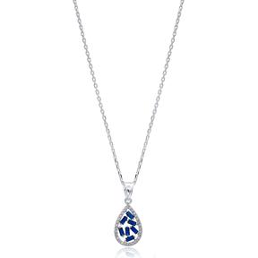 Drop Design Sapphire Baguette Zircon Handmade 925 Sterling Silver Wholesale Necklace