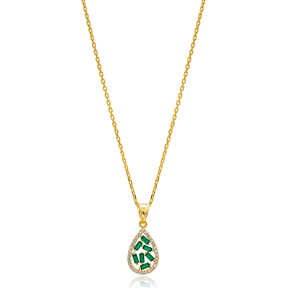 Drop Design Emerald Baguette Zircon Handmade 925 Sterling Silver Wholesale Necklace