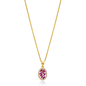 Baguette Zircon Oval Design Ruby Handcrafted 925 Sterling Silver Wholesale Necklace