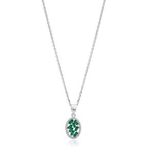 Oval Design Emerald Baguette Handcrafted 925 Sterling Silver Wholesale Necklace