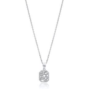 Zircon Stone Trendy Baguette Pendant Handmade 925 Sterling Silver Wholesale Necklace