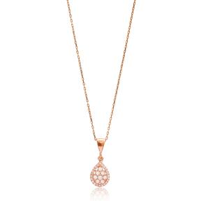 Drop Charm Zircon Necklace Wholesale Handmade 925 Silver Sterling Jewelry