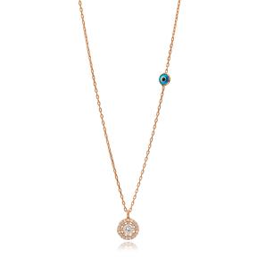Minimalist Evil Eye Round Design Pendant Wholesale Handmade 925 Silver Sterling Charm Necklace