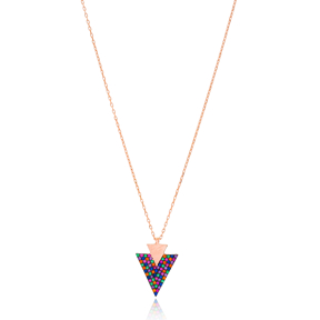 Inlaid Triangle Pendant Wholesale Handcrafted 925 Sterling Silver Jewelry