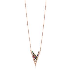 Fashion Unique V Shape Pendant Wholesale Sterling Silver Jewelry
