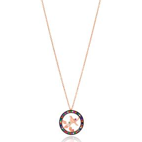 Mix Stone Bird Design Turkish Wholesale Handmade 925 Sterling Silver Pendant