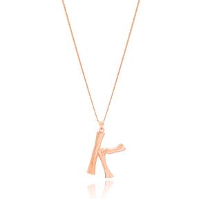 Alphabet K Letter Design Pendant Turkish Wholesale Handmade 925 Sterling Silver Jewelry