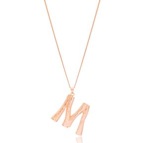 Alphabet M Letter Design Pendant Turkish Wholesale Handmade 925 Sterling Silver Jewelry
