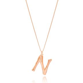 Alphabet N Letter Design Pendant Turkish Wholesale Handmade 925 Sterling Silver Jewelry