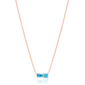 Two Zircon Stone Design Necklace , Wholesale 925 Sterling Silver Jewelry
