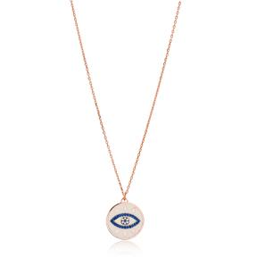 Sapphire Stone Enamel Evil Eye Pendant Wholesale 925 Sterling Silver Jewelry