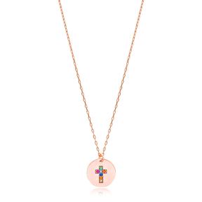 Rainbow Cross Charm Pendant 925 Silver Sterling Wholesale Handmade Turkish Jewelry