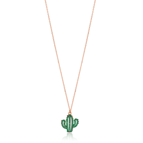 Green Cactus Necklace Handmade 925 Sterling Silver Jewelry