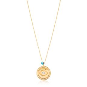 Round Shape Evil Eye Charm Pendant Wholesale Handmade Turkish 925 Silver Sterling Jewelry