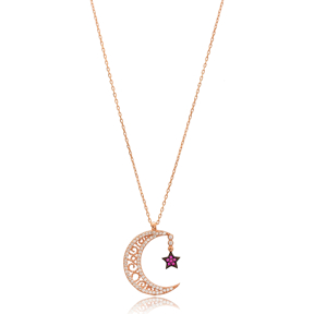 Moon and Star Charm Wholesale Handmade Turkish 925 Silver Sterling Necklace