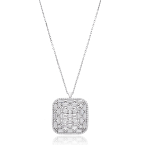 Square Baguette Shape Stone Silver Pendant Wholesale Sterling Silver Jewelry