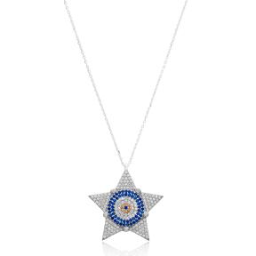 Silver Evil Eye Star Pendant Wholesale 925 Sterling Silver Jewelry