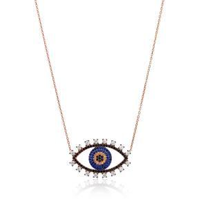 Silver Evil Eye Pendant In Turkish Wholesale 925 Sterling Silver