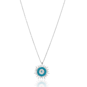 Delicate Turquoise Sun Charm Silver Pendant Wholesale 925 Sterling Silver Jewelry